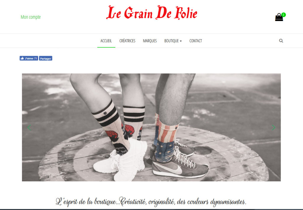 Site de la boutique Grain de Folie